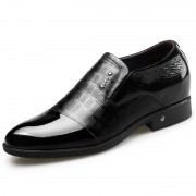 Elegant Slip On Elevator Formal Shoes Black Shiny Toe Dress Loafers Add Taller 2.6inch / 6.5cm