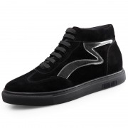 Winter Elevator High Top Sneakers Black Hidden Heel Skateboarding Shoes Tall 2.2inch / 5.5cm