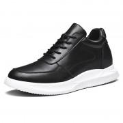 Black Leather Hidden Taller Skate Shoes Trendy Elevator Men Sneakers Increase 2.8inch / 7cm