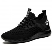 Comfortable Elevator Workout Shoes Black Soft Flyknit Sneakers Make You Look Taller 2.8inch / 7cm