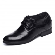 Brogue taller formal shoes height increasing 6.5cm / 2.56inch black lace up wedding shoes