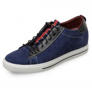 Trendy elevator skateboarding shoes 2.4inch / 6cm blue suede height sneakers