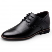 Super Soft Calfskin Elevator Formal Shoes Black Plain Toe Dressy Shoes Taller 2.6inch / 6.5cm