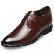 Embossed leather elevated dressy formal shoes 2.6inch / 6.5cm Brown
