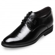 Embossed leather elevating dressy formal shoes 2.6inch / 6.5cm Black