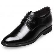 Embossed leather elevating dressy formal shoes 2.6inch / 6.5cm Black