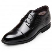 Classic Elevator Dress Shoes Taller 2.6inch / 6.5cm Black Lace Up Cap Toe Oxfords