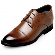 Classic Elevator Dress Shoes Height 2.6inch / 6.5cm Brown Lace Up Cap Toe Oxfords