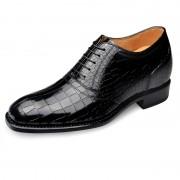 High quality crocodile elevator dress shoes add taller 6.5cm / 2.56inch black business oxfords