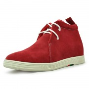 Hot sell Red Suede leather high heel ankle boots height taller 2.75 inches / 7cm