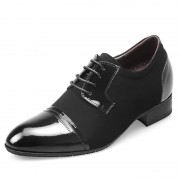 Korean glossy leather elevator wedding shoes for men that increase height 6.5cm / 2.56 groom dress shoes