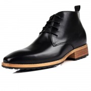 Top grain leather men elevator tall boot add height 7cm / 2.8inch black British business boots
