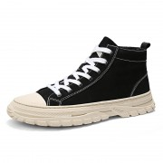 Trendy Height Increasing Canvas Shoes Black Flannelette High Top Street Dance Sneakers Add Taller 2.8inch / 7cm