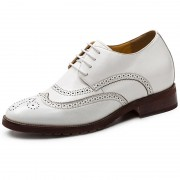 Wing-tip elevator brogue dressy formal shoes 2.8inch / 7cm White