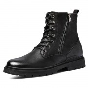 Elevator Double Zip Boots Black Calf Leather Tactical Chukka Boot Warm Military Boots Tall 2.6inch / 6.5cm