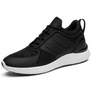 Comfort Elevator Walking Shoes Add Height 3inch / 7.5cm Black-White Taller Sneakers