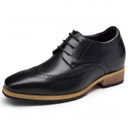 Korean men tide elevator business shoes be taller 7cm / 2.8inch black Bullock dress shoes