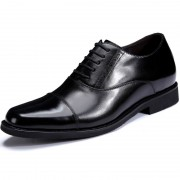 Premium tuxedo elevator shoes 7cm / 2.75inch black cap toe taller wedding shoes