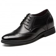 Brogue elevator shoes increase heighten 6cm / 2.36inches black taller business lift shoe