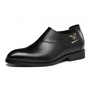 Best elevator groom wedding shoes get taller 6cm / 2.36inch black slip on business formal shoes