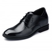 Tuxedo lace up men elevator shoes 6cm / 2.36inch black taller formal shoes