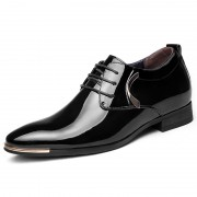 Black burnished leather wedding shoes add height 6.5cm / 2.56inch Britpop elevator derby shoes