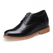 Black brogue wing tip elevator wedding shoes 8cm / 3.2inch lace up business formal shoes