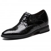 Glossy crocodile embossed elevator wedding shoes 2.8inch / 7cm Black