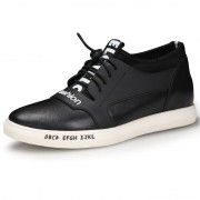 Fashion elevator casual shoes add taller 2.4inch / 6cm black calfskin lace up skate shoes