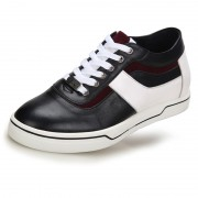 Comfort elevated casual shoes make you taller 2.4inch / 6cm black skateboarding shoes