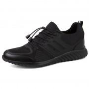 Hidden Heel Walking Shoes Black Slip On Fashion Sneakers Height 8cm / 3.2inch