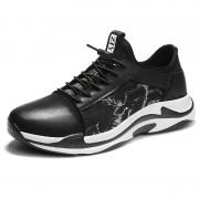 Black-White Men Taller Sneakers Slip-On Cap Toe Casual Walking Shoes Height 2.6inch / 6.5cm