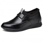 Add height 6cm / 2.4inch black slip on elevator casual loafers