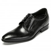 England crafted cowhide elevator shoes 7cm / 2.75inch black graduations lace-ups derbies