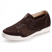Coffee elevator loafers add taller 6cm / 2.56inch mesh men slip on casual shoes