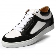 Fashion skate board shoes add height 6cm / 2.4inch black elevator casual shoes