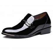 Black 8cm / 3.2inch Height Increasing Dress Loafers Slip On Elevator Wedding Shoes