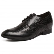 Taller 2.4inch / 6cm British black elevator bullock carve pointy toe formal shoes