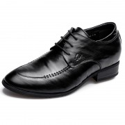 Black Lambskin Leather Elevator Dress Shoes 3.2inch / 8cm Taller Business Formal Shoes