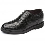 Perfect Elevator Wedding Shoes Taller 2.4inch / 6cm Black Crocodile Grain Formal Shoes