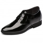 European Elevator Tuxedo Shoes 3.2inch / 8cm Black Cowhide Height Increasing Busines Oxfords
