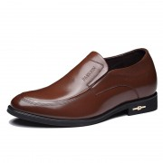 Unique calfskin taller formal shoes gain height 7cm / 2.75inch brown slip on business shoes