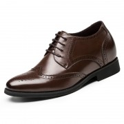 Brogue elevator shoes increase heighten 6cm / 2.36inches brown taller business lift shoe