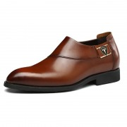 Best taller groom wedding shoes add height 6cm / 2.36inch brown slip on business formal shoes