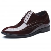 Glossy Cowhide Wing Tip Taller Tuxedo Shoes 2.8inch / 7cm Wine Red Elevator Brogue Formal Shoes
