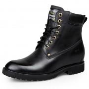 Elegant hidden heel martin boot increase height 7cm / 2.75inch black elevator combat boots