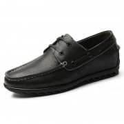 2019 Retro Elevator Boat Shoes Black Soft Leather Lace Up Heighten Shoes Taller 2.2inch / 5.5cm