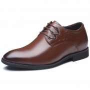 Premium Taller Shoes Altitude 2.8inch / 7cm Brown Plain Toe Elevator Business Shoes