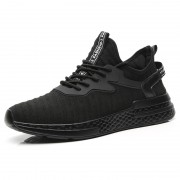 Relaxed Elevator Flyknit Trainers Black Stretch Fabric Running Shoes Increase Taller 2.4inch / 6cm