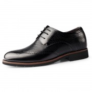 Height Increasing Hollow Out Brogue Dress Shoes Black Wing Tip Summer Formal Derbies Add Taller 2.4inch / 6cm